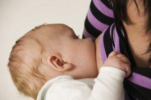 A breastfeeding baby